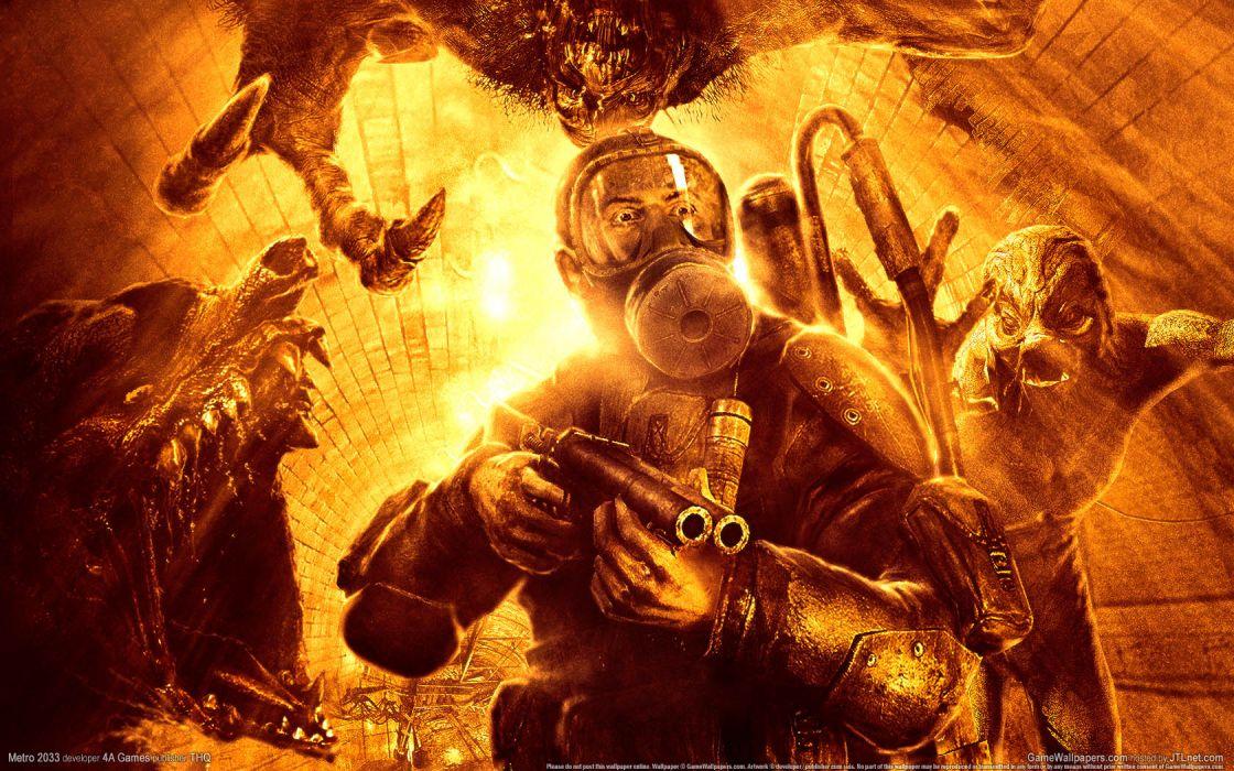 Metro 2033 Gas Mask Monsters Orange wallpaper
