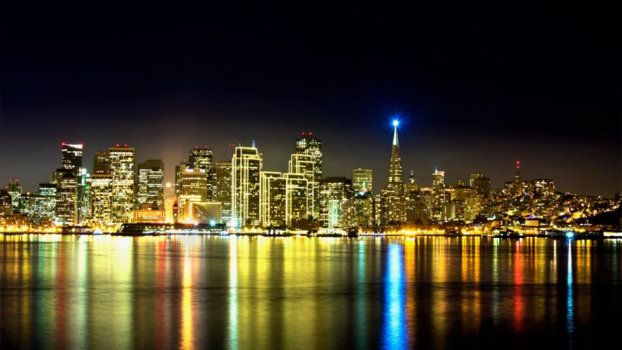 San Francisco builddings skyscrapers bay water reflection night lights wallpaper
