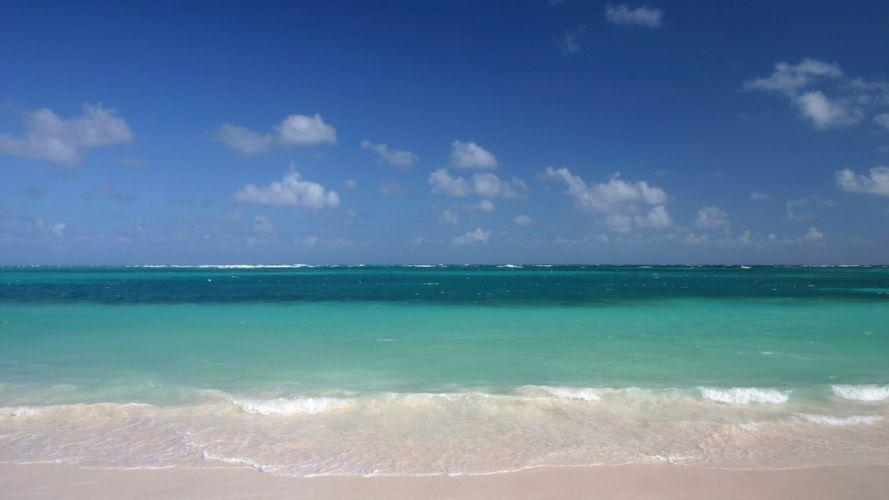 sand beaches ocean waves sky wallpaper