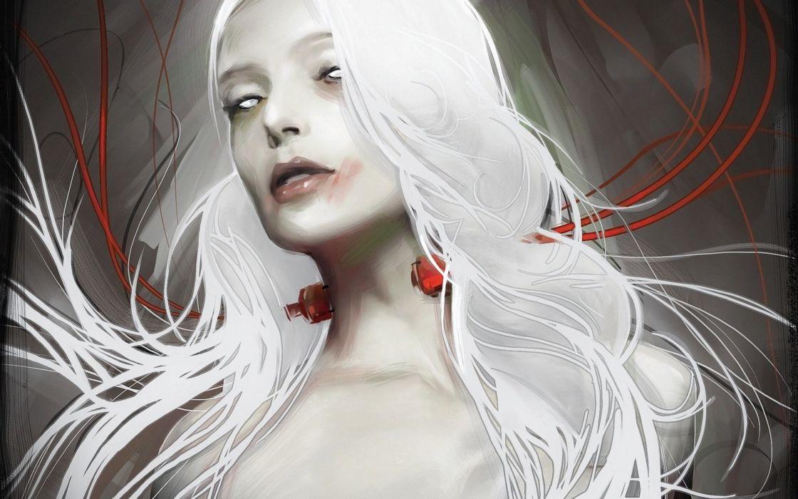 sci-fi dark tech cyborg women females girls face wallpaper