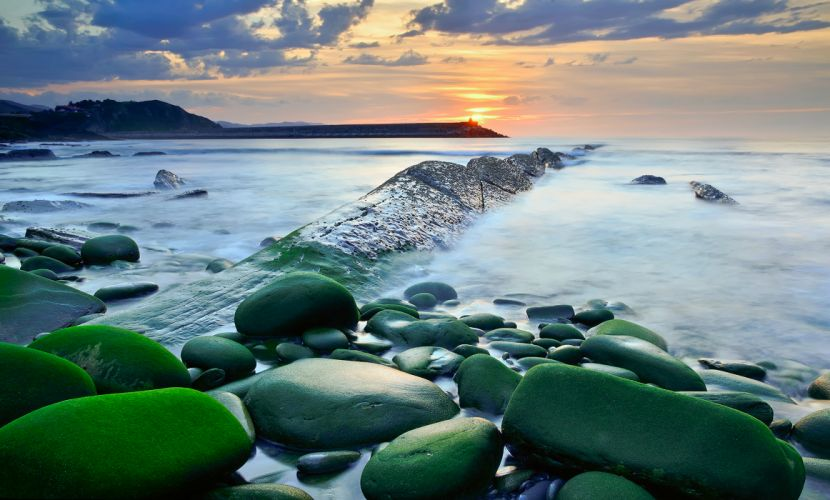 sea aeYaeY sky rocks water exposure sunset ocean beaches wallpaper
