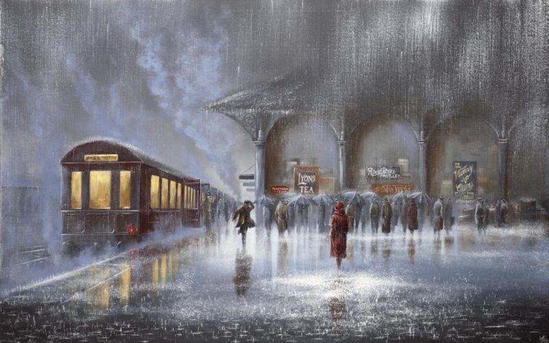 picture Jeff Rowland station rain meeting man woman people umbrellas car train platform men women wallpaper