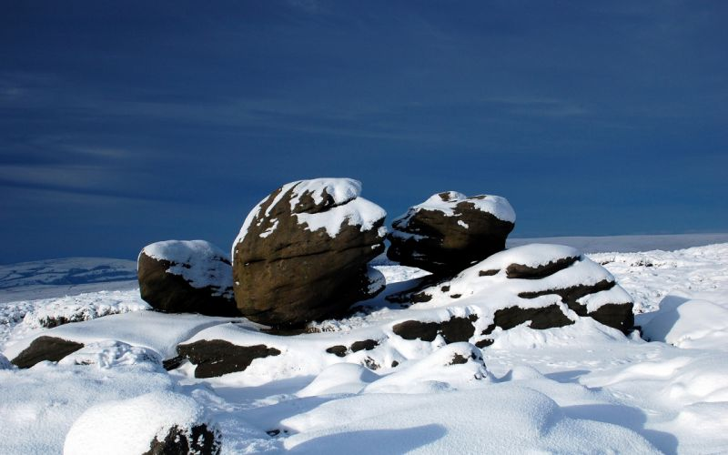Rocks Stones Snow winter sky wallpaper