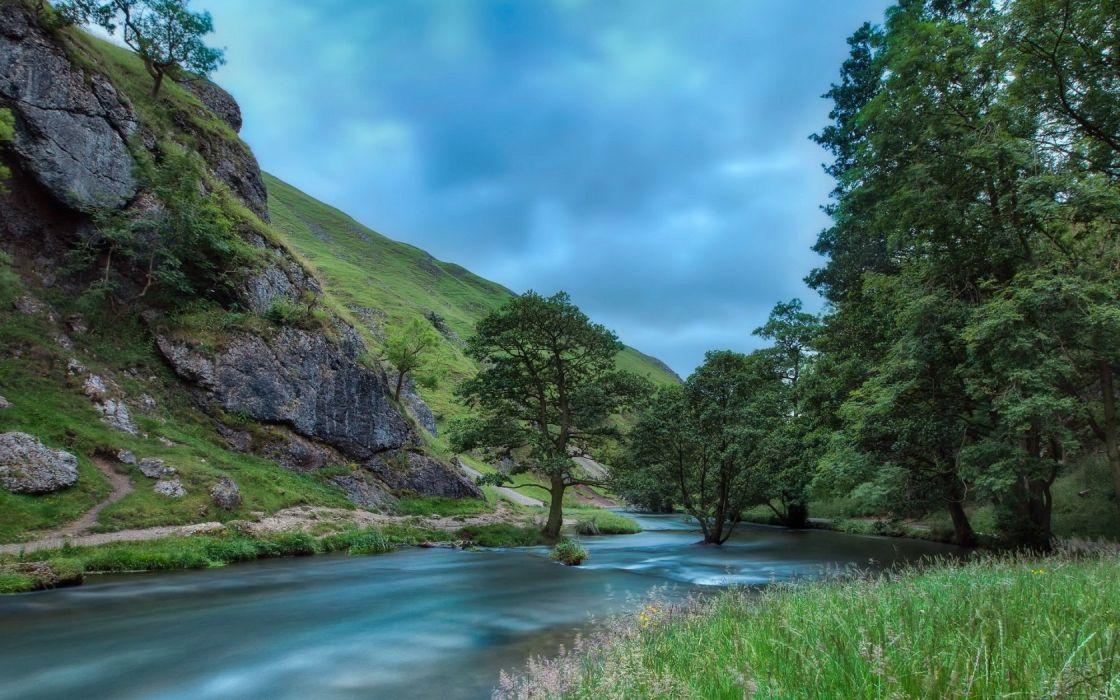 summer river nature trees sky hills wallpaper