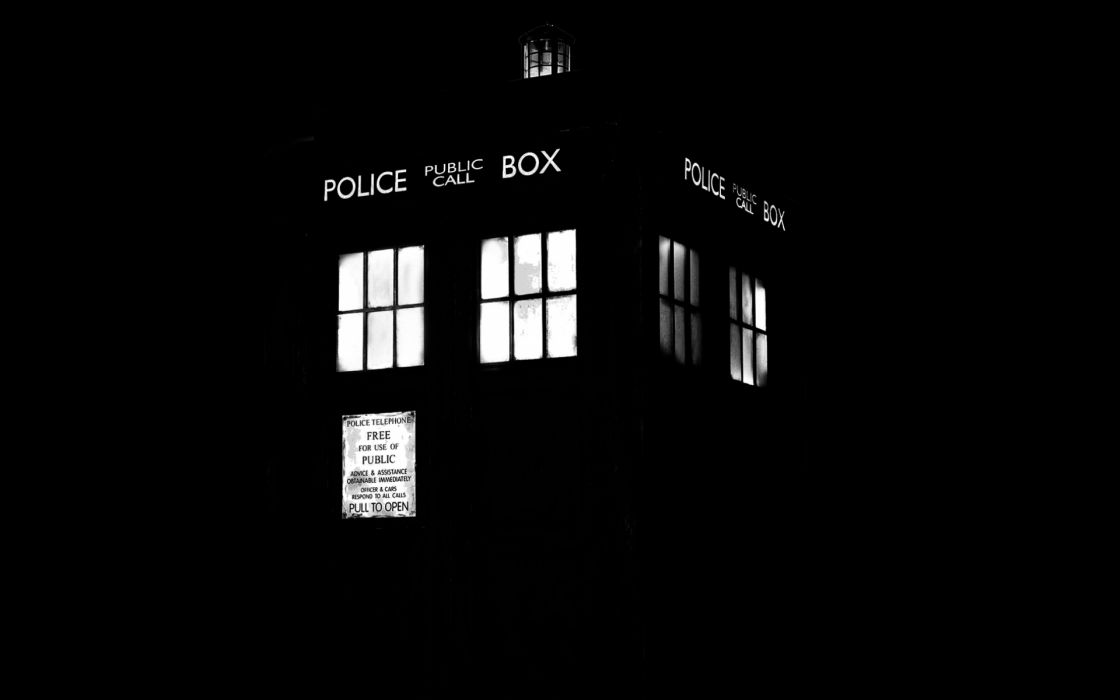 tardis monochrome doctor who phone booth telephone lights wallpaper