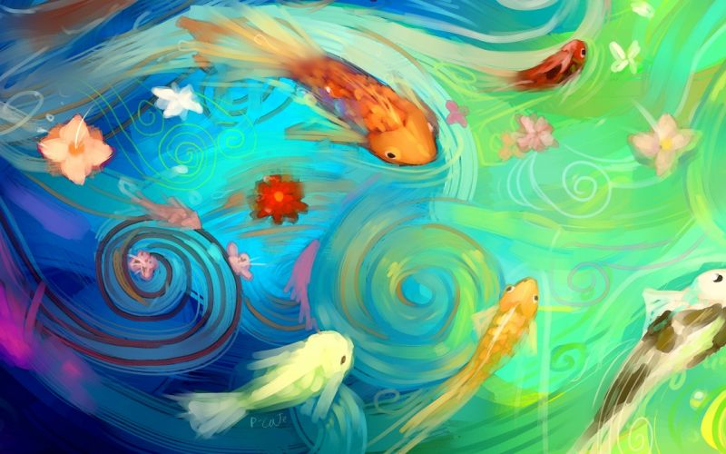water flowers fish abstraction art pond asian wallpaper