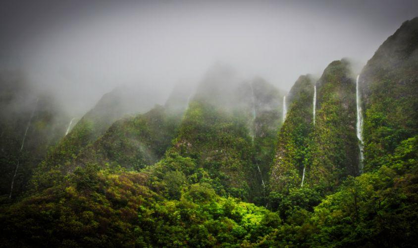 Waterfalls Tropics Mountains Jungle Highlands Oahu Hawaii wallpaper