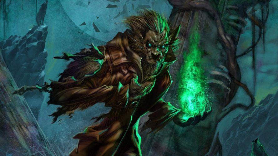 Werewolf Magic Drawing dark wallpaper
