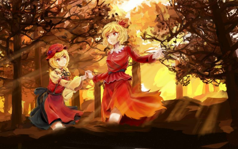 touhou minoriko Aki Aki shizuha two girls forest trees wallpaper