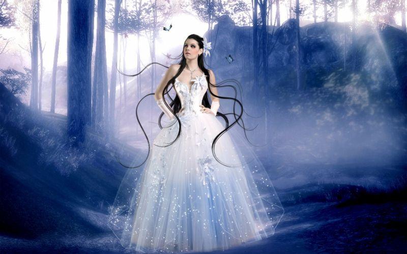 brunette dress butterfly girl hair corset women females girls gown mood trees forest wallpaper