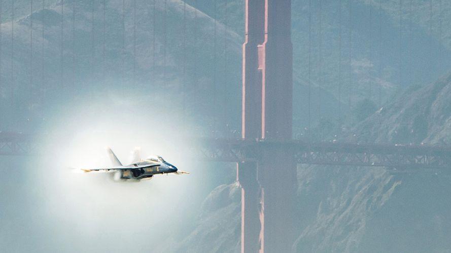 Golden Gate Bridge Bridge Blue Angel San Francisco Jet Sonic Boom Supersonic military wallpaper