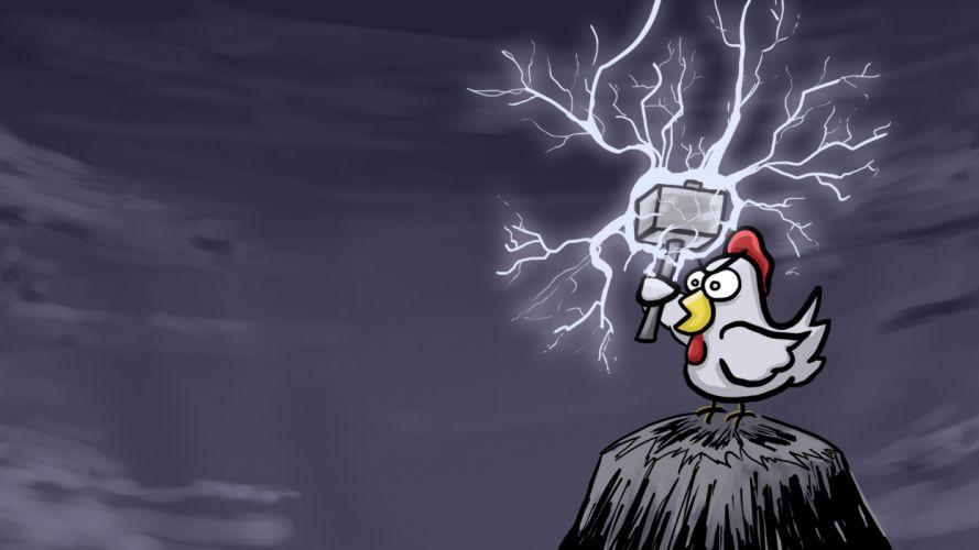 cartoons hills hammer chickens lightning thor wallpaper