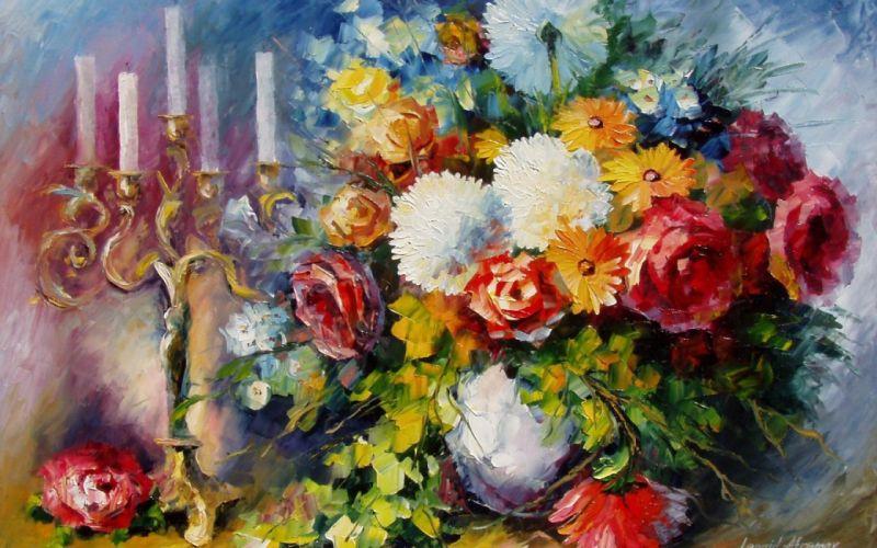 flowers vase art leonid afremov candles bouquet still life wallpaper