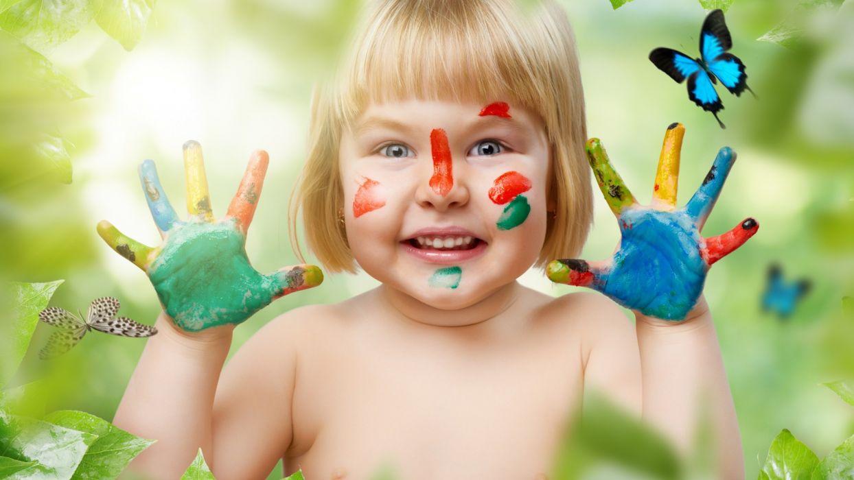 girl  paint  brush strokes  butterfly  smile children babies wallpaper
