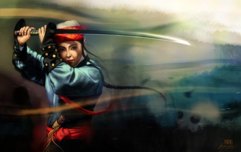 art girl asian sword katana weapon women wallpaper