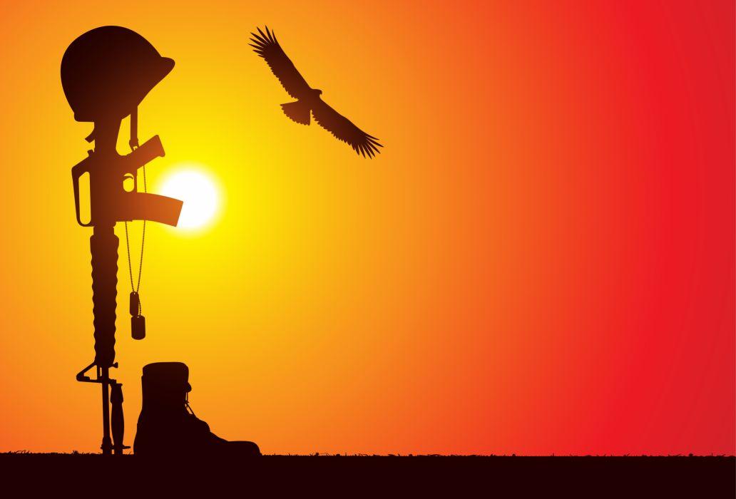 Bird Rifle Sunlight Helmet Silhouette military weapons guns sunset wallpaper