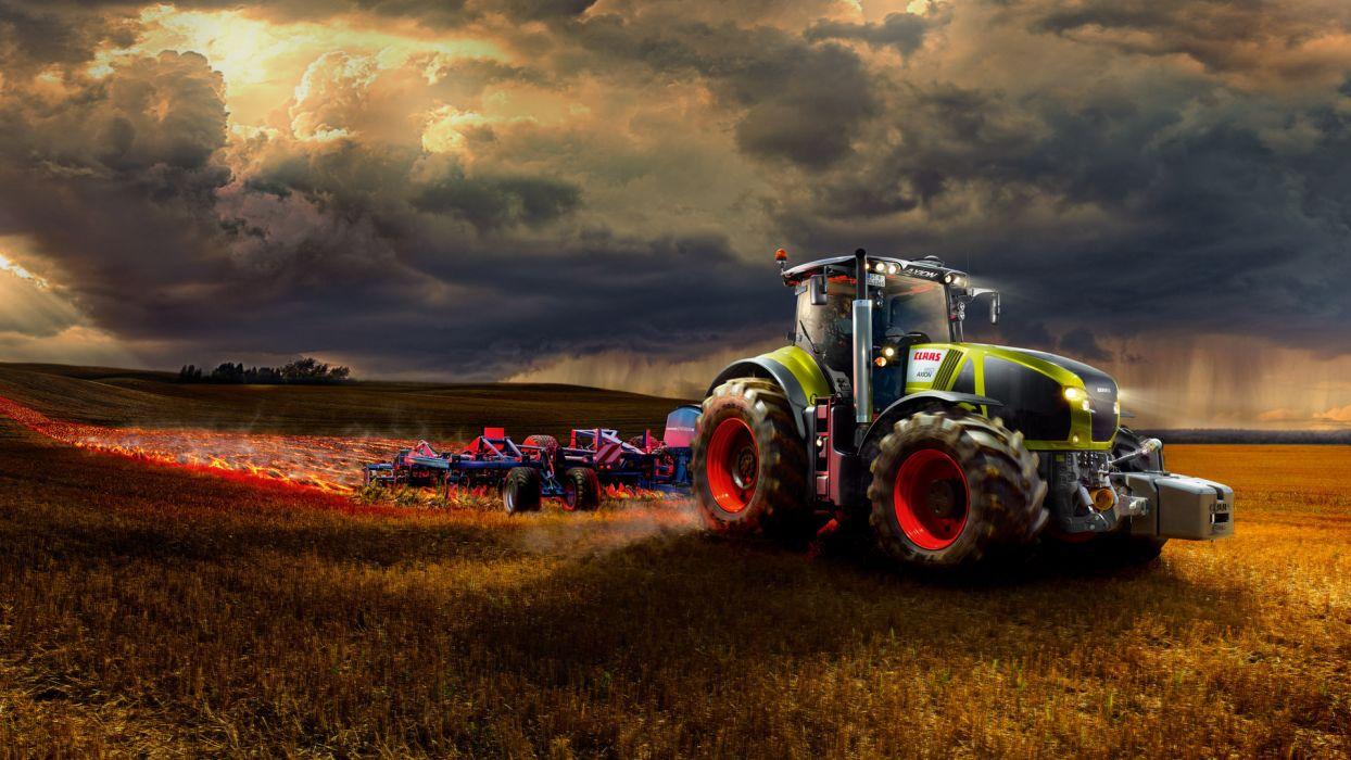 Claas Axion 900 tractor farm landscape wallpaper