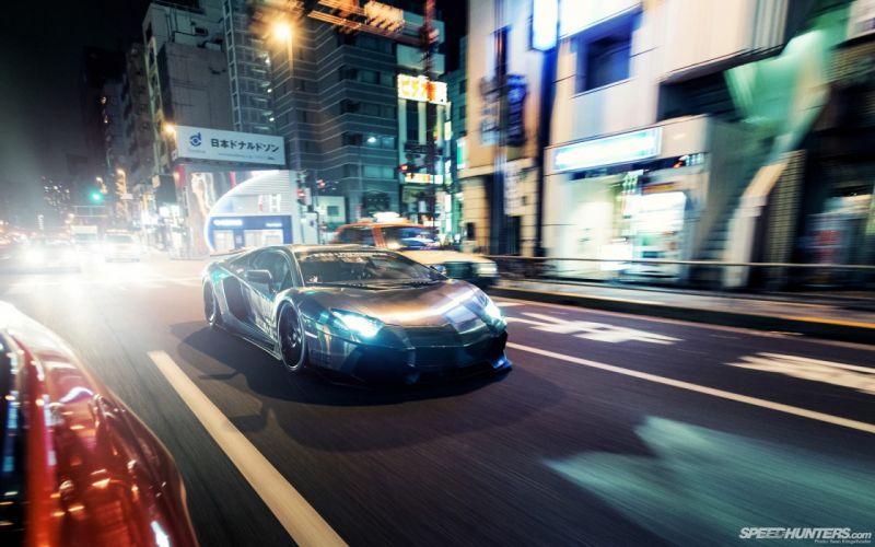 Lamborghini Aventador Street Night Lights Motion Blur wallpaper