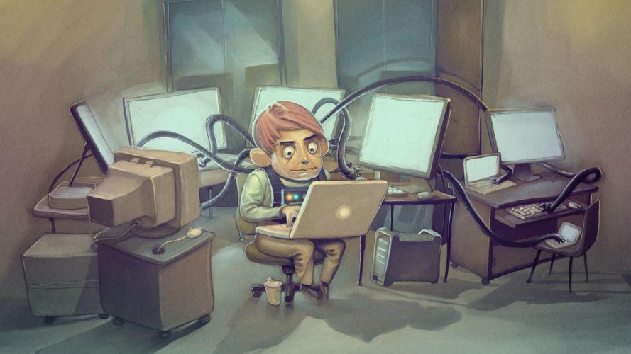 humor computer cartoon wallpaper