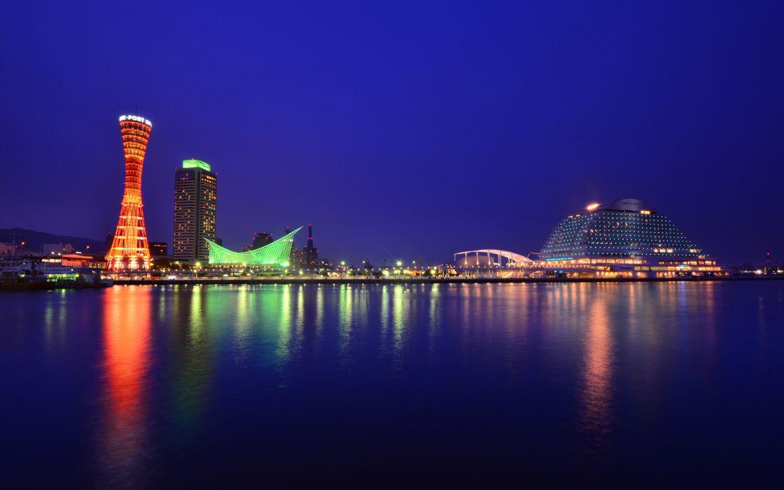 Japan Honshu Kobe city port buildings tower light night blue sky reflection wallpaper
