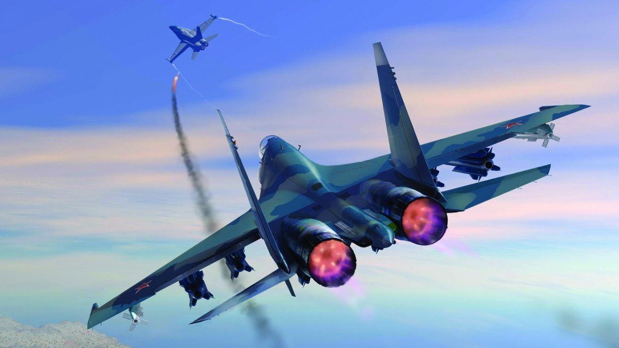 Jet military missile sky battle wallpaper