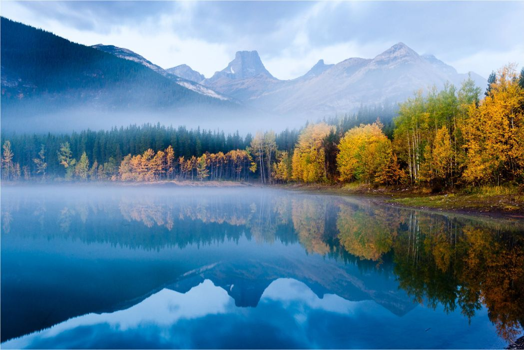 mountain lake autumn forest top quiet reflection nature wallpaper