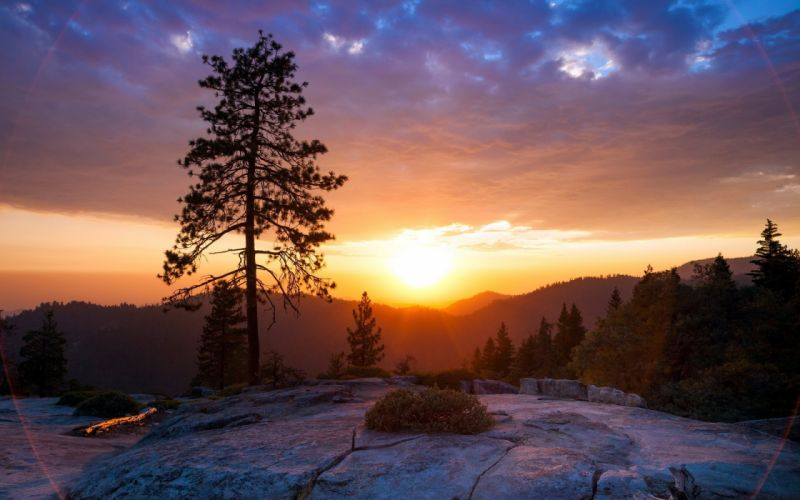 mountains sky sunset trees clouds wallpaper