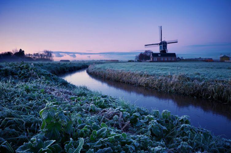 Netherlands winter morning sunrise trees field frost mill blue lilac sky water rivers wallpaper
