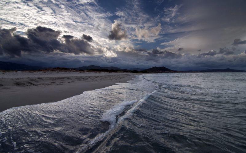 ocean sea beaches waves sky clouds wallpaper