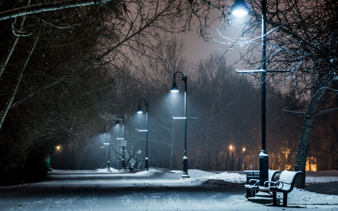 park winter snow bench lights lamp post night path trail wallpaper