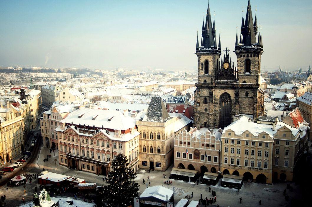 Prague Czech buildings winter wallpaper