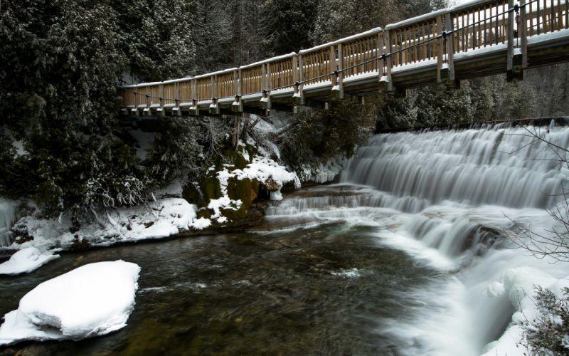 river bridge winter landscape waterfall wallpaper