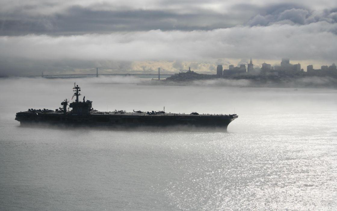 San Francisco Buildings Skyscrapers Clouds Mist Fog Battleship Ship cities bridge sky clouds military wallpaper