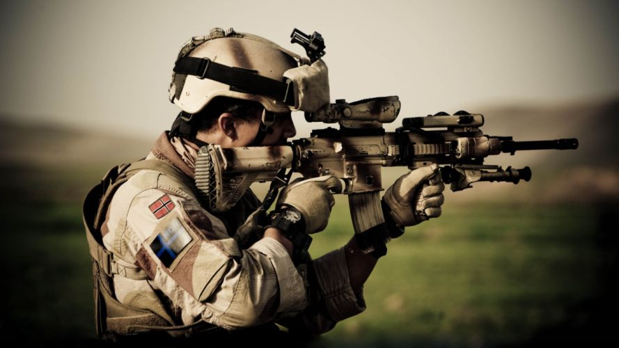 Soldier Rifle military weapons guns wallpaper