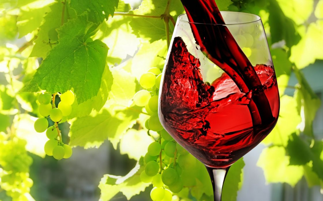 Wine Red Filled Glass Leaves Vines Grapes Fruit Wallpaper