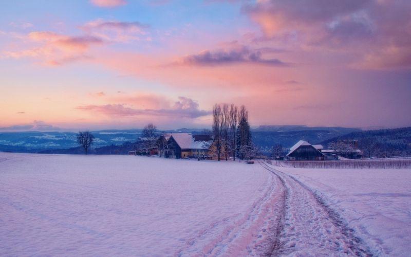 winter snow village Dawn landscapes buildings houses sky sunrise sunset wallpaper