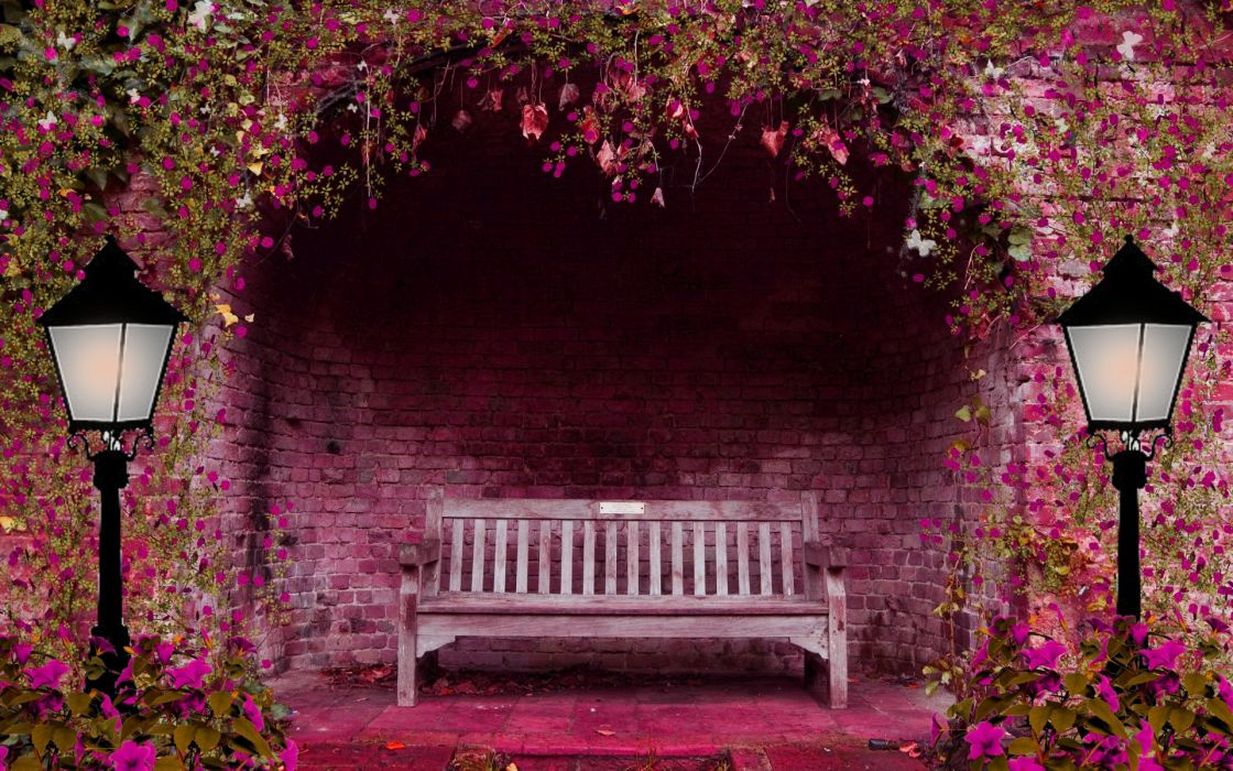 Spring garden flowers arch bench lights pink lamps brick ...