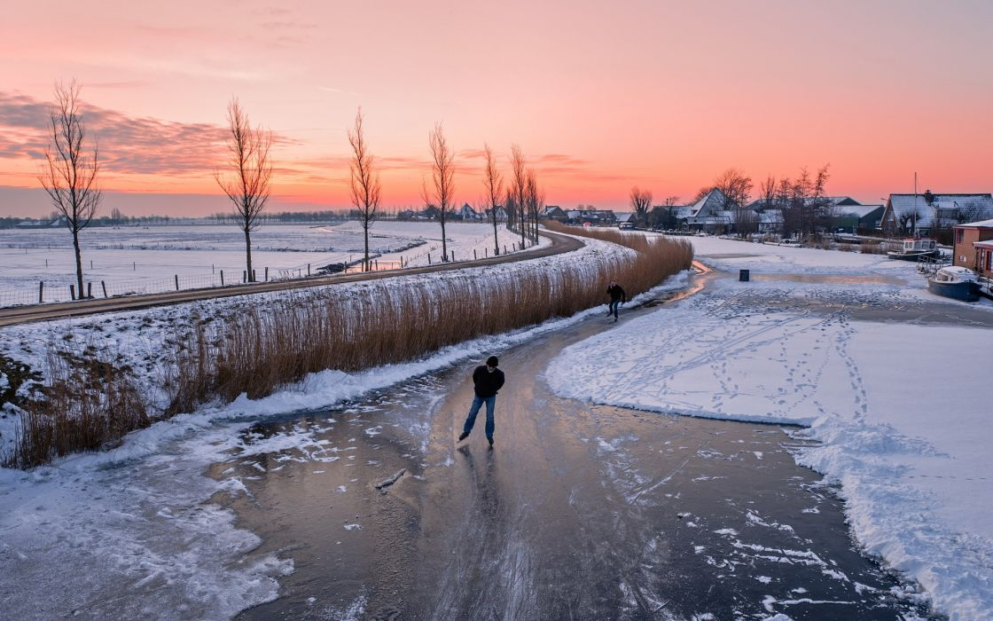 Sunset  ice  home  winter  road buildings houses people sports sky rivers wallpaper