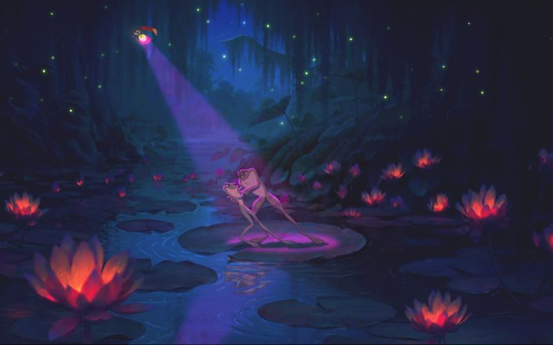 The Princess and The Frog forest trees lakes wallpaper