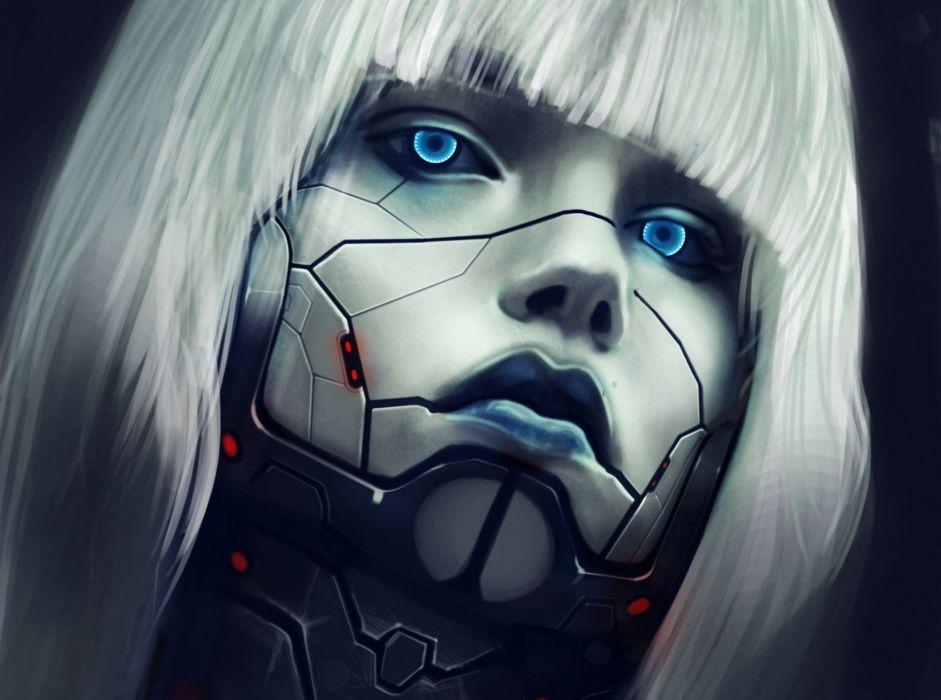 Eyes Robot Face Blonde girl Hair sci-fi cyborg women females face eyes wallpaper