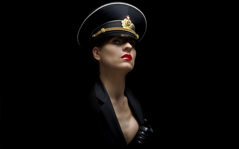 Girls Army Hat Glance women females sexy babes cleavage wallpaper