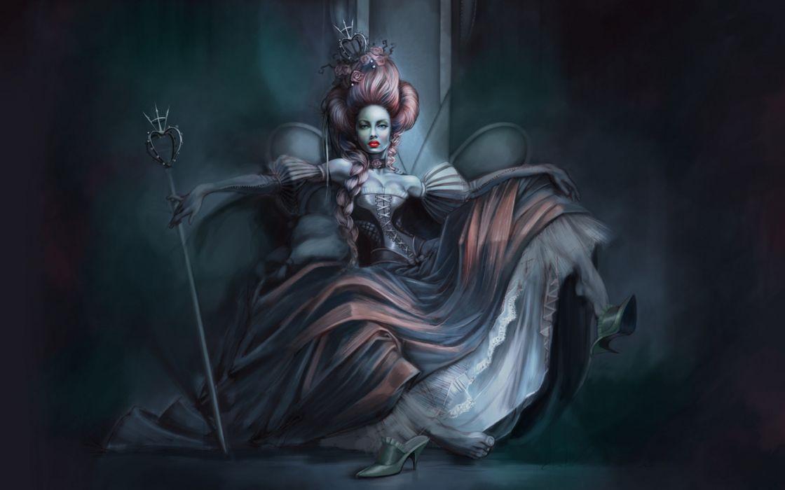 Gothic Retro Dress Fantasy Girls Dark Women Females Vampire Wallpaper