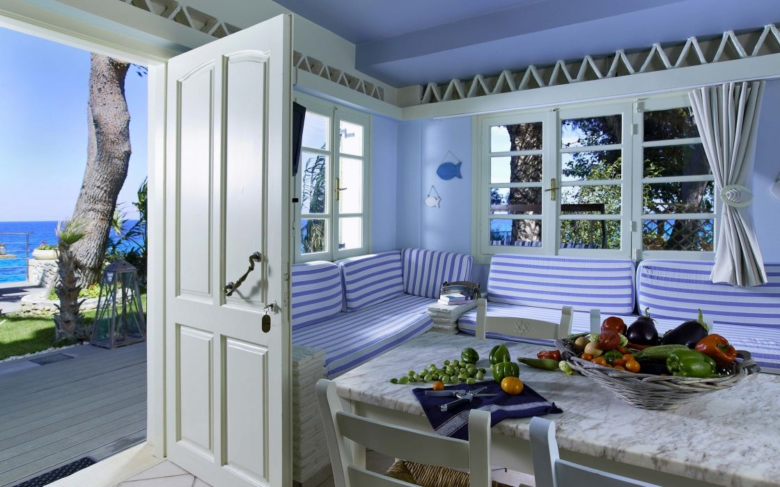 Interior Vegetables Table Door Window design room wallpaper