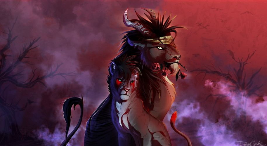 Magical animals Painting Art Fantasy lion wallpaper
