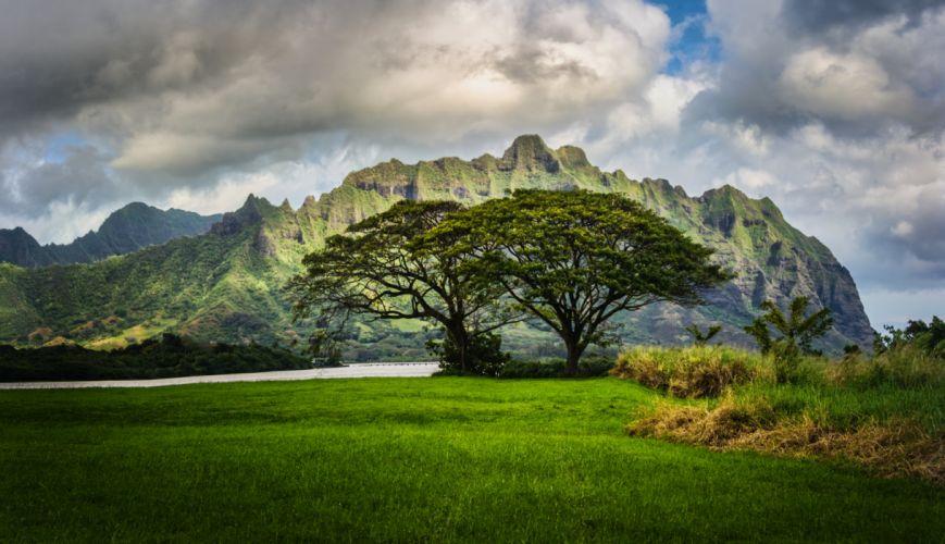 Scenery Mountains Oahu Hawaii Grass Clouds Nature wallpaper