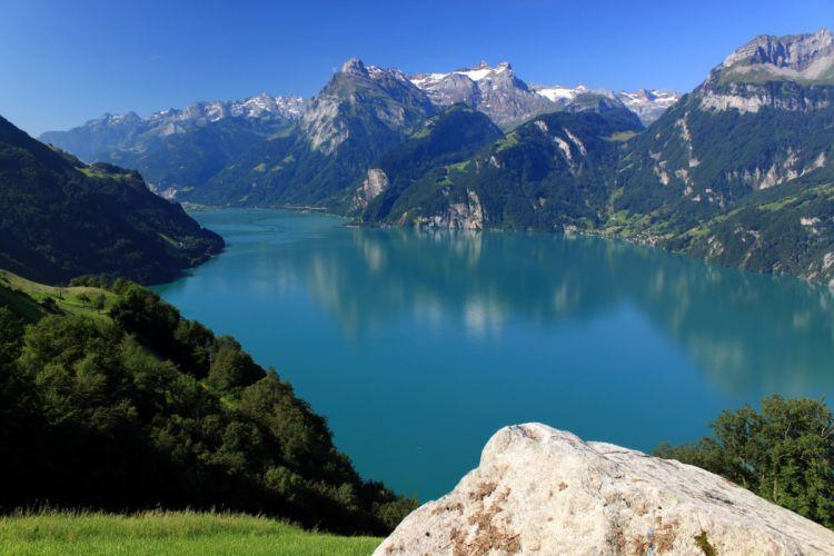 Scenery Switzerland Mountains Rivers Morschach Nature wallpaper
