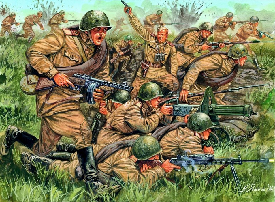 Soldiers Painting Art Machine guns Army battle military weapons wallpaper
