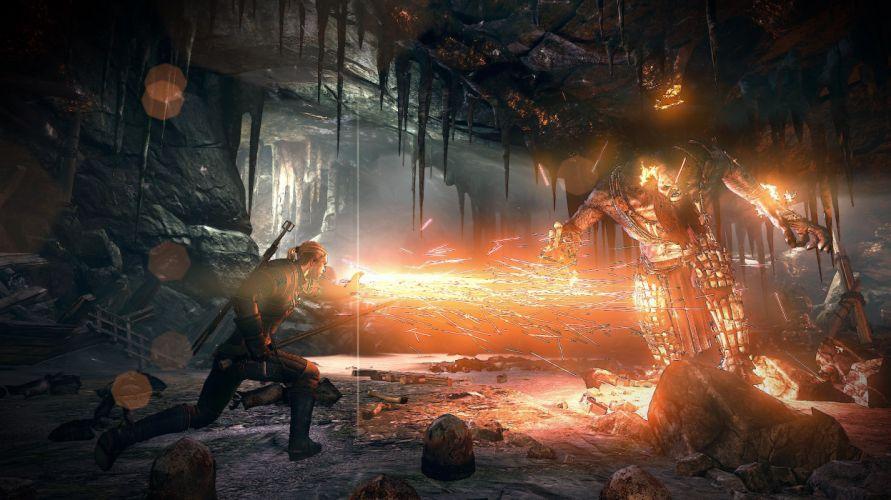 The Witcher 3 Wild Hunt Battles Monsters Fire Warriors Games 3D wallpaper