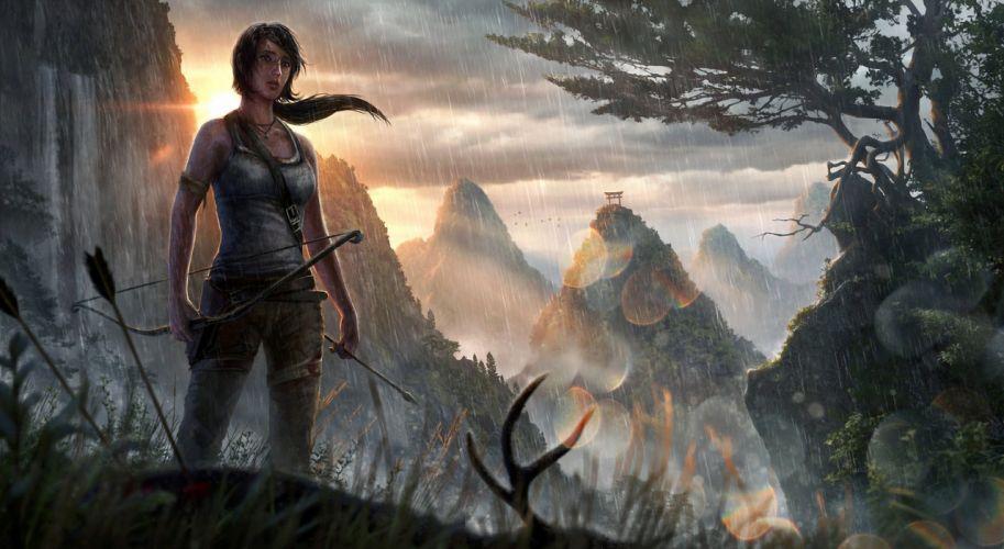 Tomb Raider 2013 Archers Mountains Games Girls lara croft mountains waterfalls wallpaper