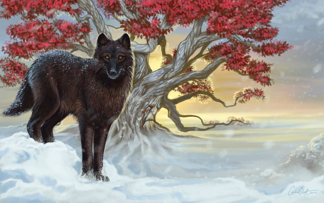 Wolves Painting Art Snow Animals wallpaper
